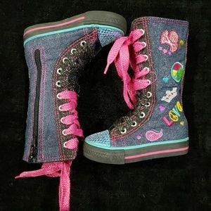 Hi-Top Denim Blue Sneakers Boots Peace Love
